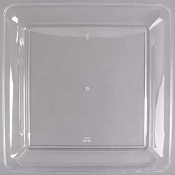 Juego de 3 bandejas cuadradas de plástico duro para servir platos de plástico y bandejas de
