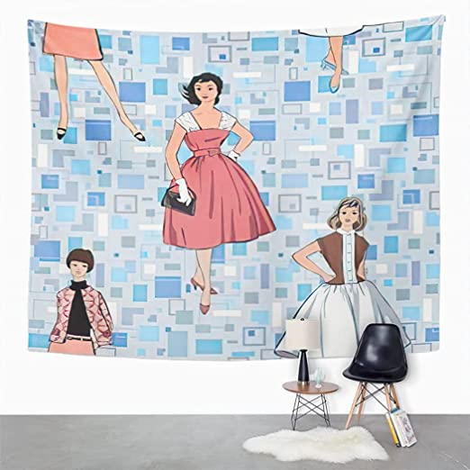 Tridietty Retro Geometric Tapestry Stylish Fashion Dressed Girl Retro Lady Vintage Women France Wall Hanging Tapestry Wall Cloth Tapestry Carpet for Bedroom Living Room Dorm Home Decor 28''x37''
