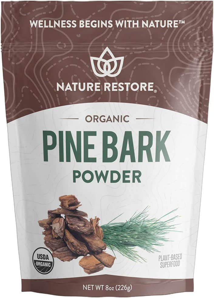 USDA Certified Organic Pine Bark Extract Powder, 8 ounces/226 Grams, Standardized to 95 Percent Proanthocyanidins, Vegan, Gluten Free, Non GMO