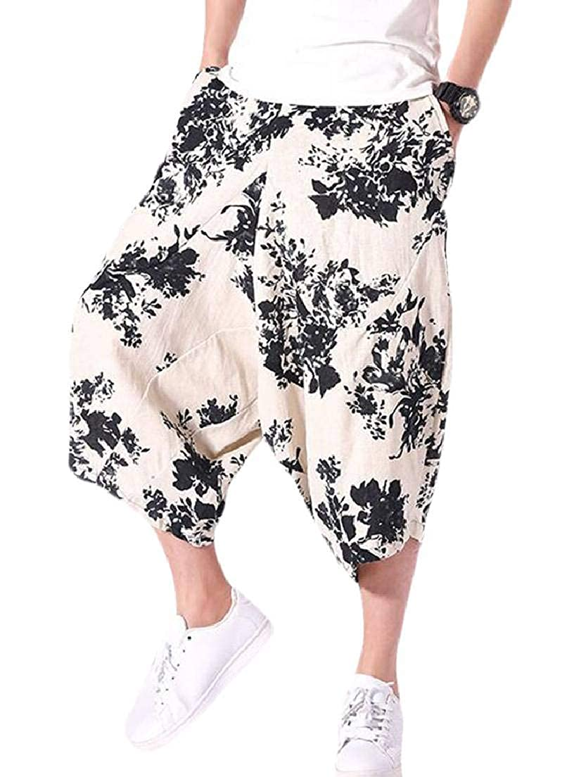 KLJR Men Printed Baggy Cropped Pants Big /& Tall Loose Fit Casual Harem Pants