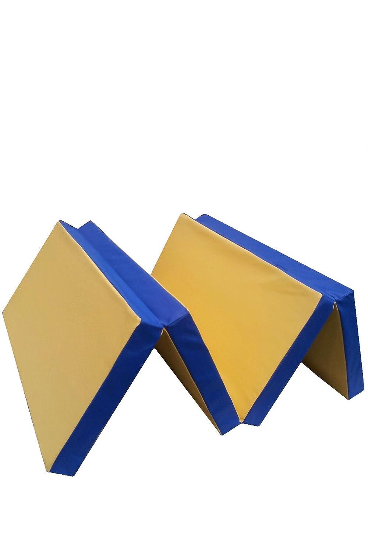 Niro Sportgeräte Turnmatte Weichbodenmatte Klappbar Blau/Gelb 200 x 100 x 8 cm TM9