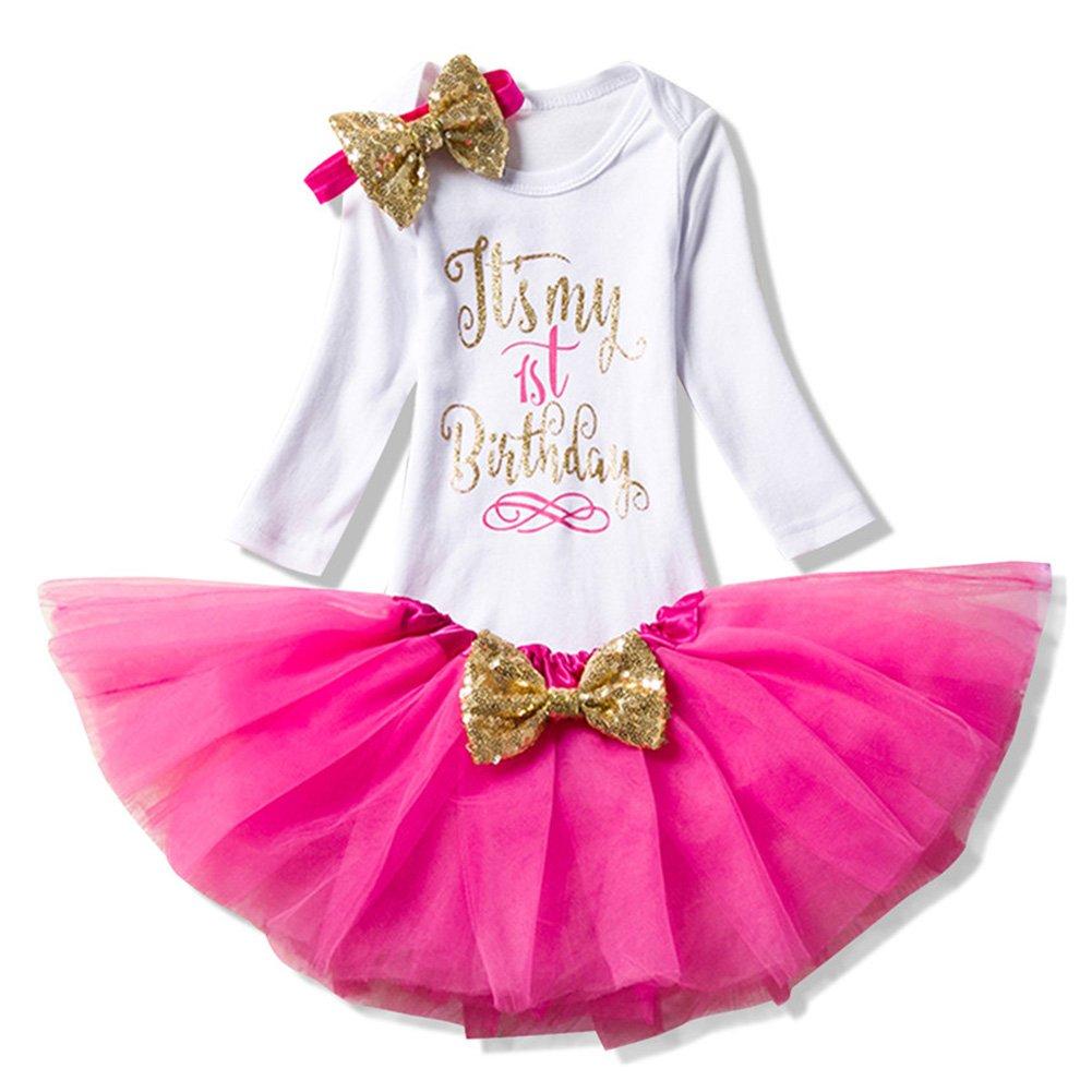 3pcs Set Completo Baby Infant Toddler Girls È la mia 1a torta di Compleanno Smash Shiny Stampato con Fiocco bow Tutu Princess Bowknot Christmas Dress Ananas rosa/12mese 1205R21