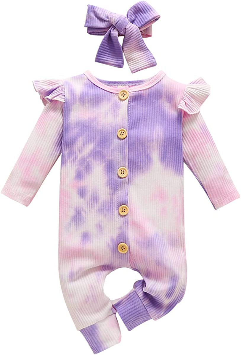 Headband Infant Baby Girl Fall Winter Clothes Ruffle Footless Pink Romper Long Sleeve Cotton Outfit Set Jumpsuit
