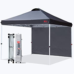 MASTERCANOPY Patio Pop Up Instant Shelter Beach Canopy with 1 Side Wall, Better Air Circulation Outdoor Canopy with Wheeled Carry Bag and 4 Sand Bags(10'x10',Black)