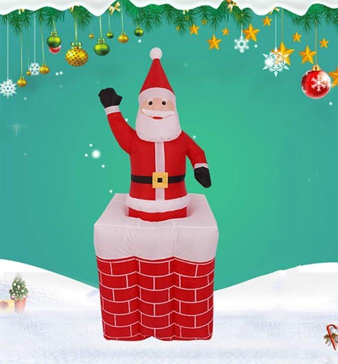 CVDEKH Hinchable Navidad Papá Noel Chimenea Inflable De 1,6 M ...