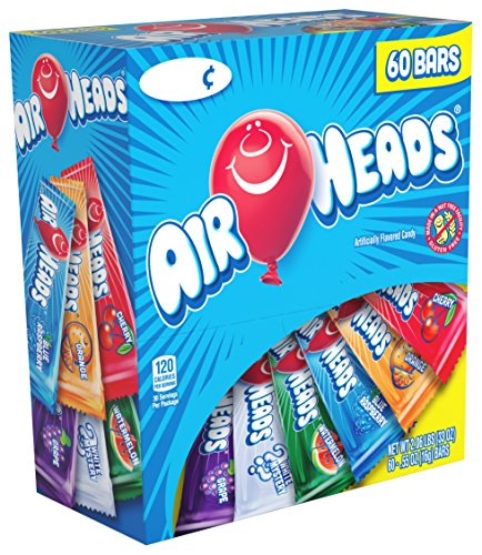 Airheads Bars, Chewy Fruit Candy, Variety Pack, Valentines Candy, 60 Count (Nerds Candy White)