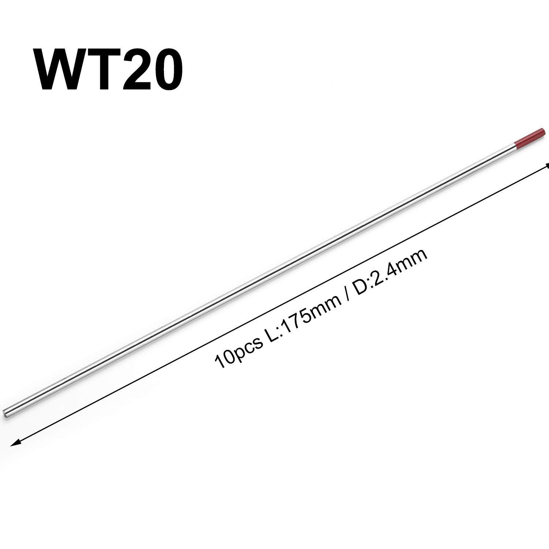 10x Aguja de Electrodos Tungsteno WT-20 Ø2.4 x 175 mm ...