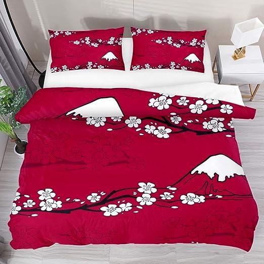Cherry blossoms duvet cover full floral design Pastel colors bed Room decor Duvet pillows set Home decor gift for her King size duvet