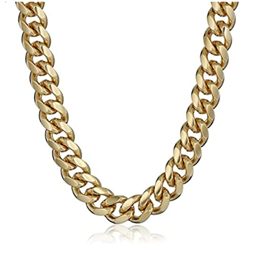 9166cf2fb6b LSDMY Men s Yellow Gold Plated 6mm Cuban Curb Chain Link Necklace 18 quot   ...
