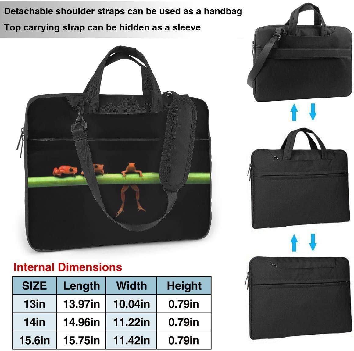 Laptop Case Computer Bag Sleeve Cover Animals Frog Print Waterproof Shoulder Briefcase 13 14 15.6 Inch