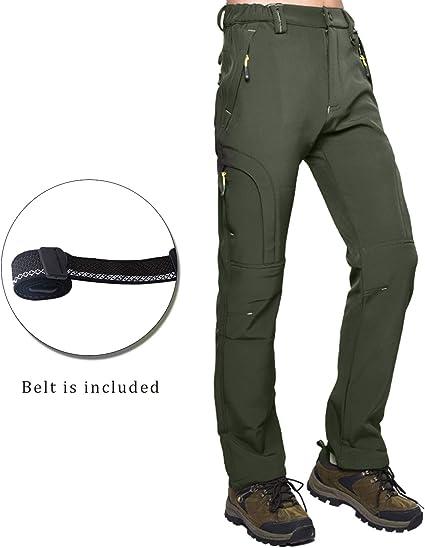 BWBIKE Pantalon Homme Doubl/é en Polaire Hiver Softshell pour Hommes Pantalon De Randonn/ée en Plein Air Pantalon De Randonn/ée R/ésistant /à leau