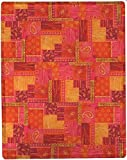 Manual Moroccan Paisley Pink Patchwork Lightweight Woven Throw Blanket SAMPP 50x60'' Orange Yellow