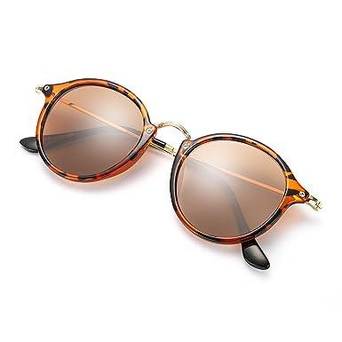 Amazon.com: ELIVWR Gafas de sol redondas polarizadas retro ...