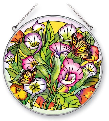 (Amia Suncatcher Featuring Butterflies in a Floral Design, Hand Painted Glass, 6-1/2-Inch Circle)