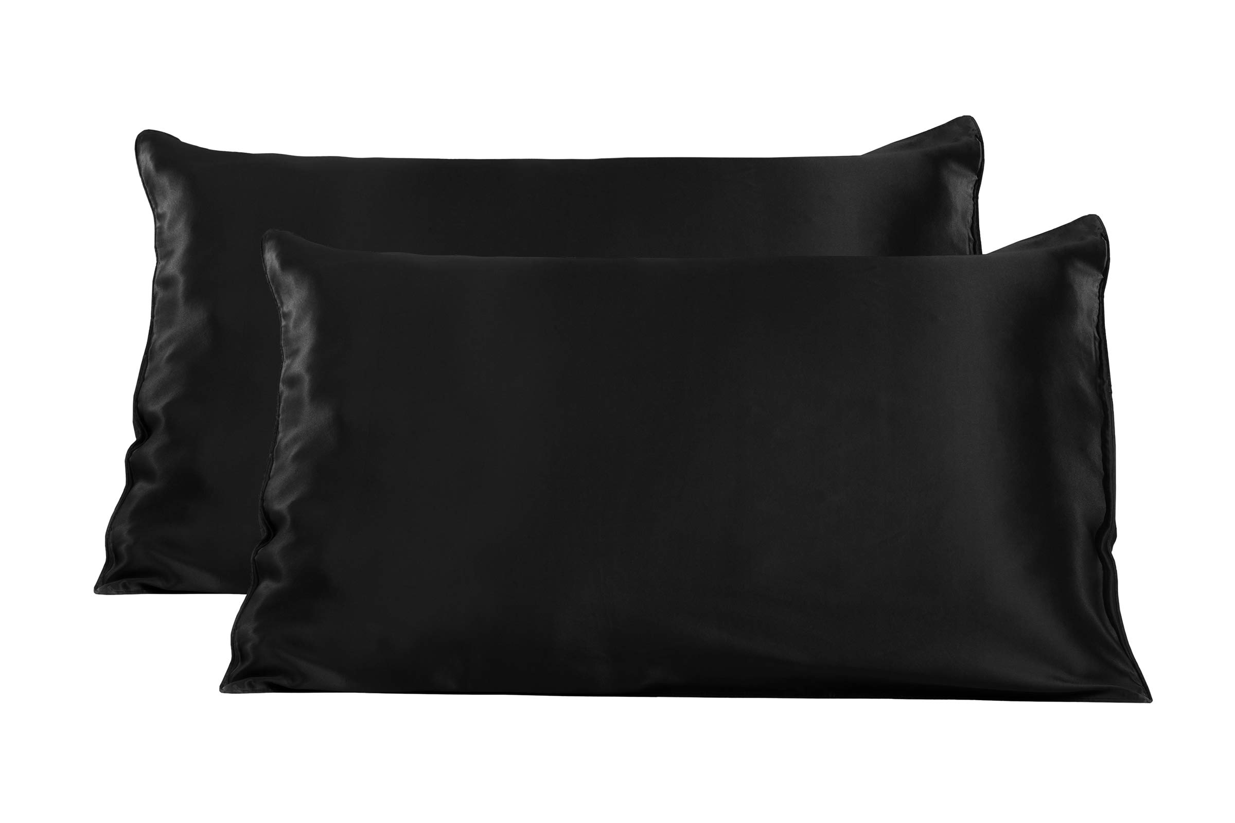 TexereSilk Mulberry Silk Pillowcase (2-Pack, Black 2 PK, Q) Luxury Pillowcases