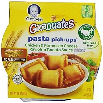 Pasta Pick-ups, pollo y queso parmesano Raviolis en salsa de tomate, 4.5