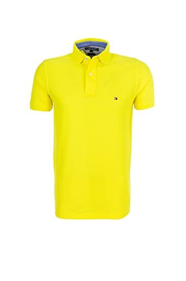 41eb2205 Tommy Hilfiger Men's Polo Shirt Yellow yellow: Amazon.co.uk: Clothing
