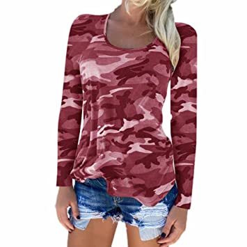Estampado Camuflaje Camisetas Sexy Casual Para Luckygirls Mujer De 4qpw1q8t