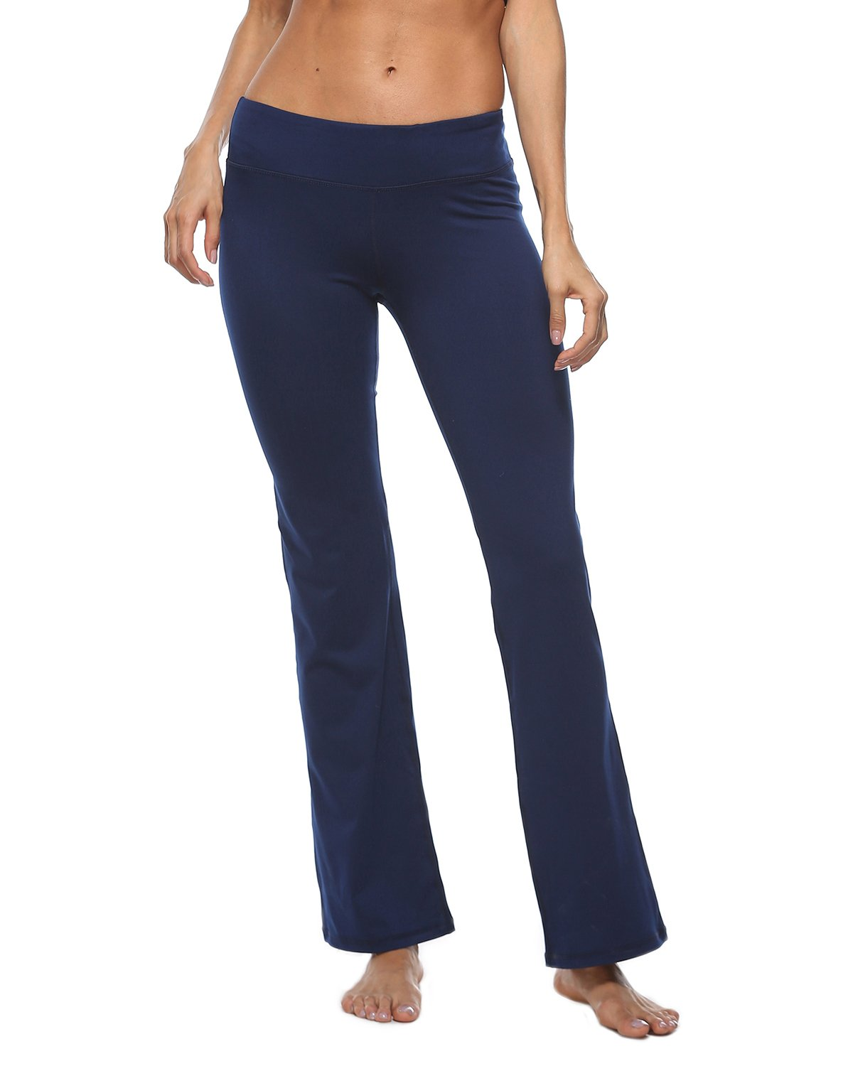 iYoga Women's High Waisted Yoga Pants Stretchy Wide Leg Pants with Pocket(Gyb034_Dblue,Small)