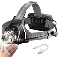 Zoomable LED Head Torch Headlamp, MALLSTAN IR Motion Sensor USB Rechargeable Headlight, Waterproof Helmet Light, 90° Rotatable Adjustable Head Lamp with Red Safety Light for Runners Fishing Cycling