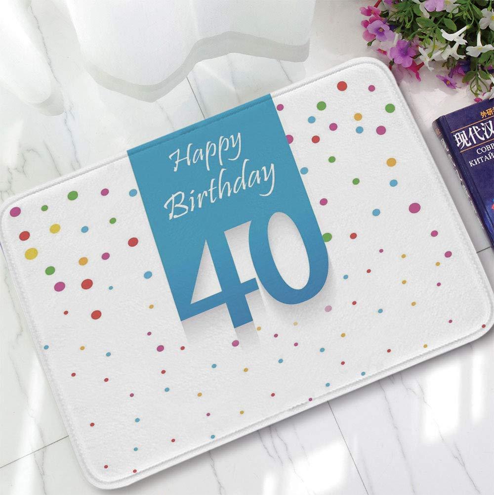 YOLIYANA Bath Mat,40th Birthday Decorations,for Dining Room Bathroom Office,15.75''x23.62'',Stylized Framework Retro Style Colorful Conffetti