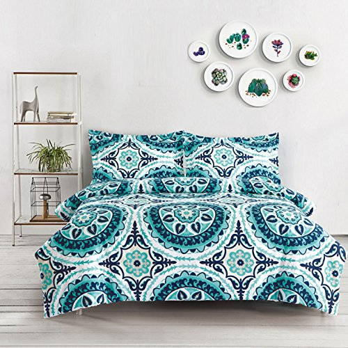 Teal Duvet Cover Set, Turquoise Bohemian Boho chic Mandala Medallion Printed on White, Soft Microfiber Bedding with Zipper Closure (3pcs, Queen Size)