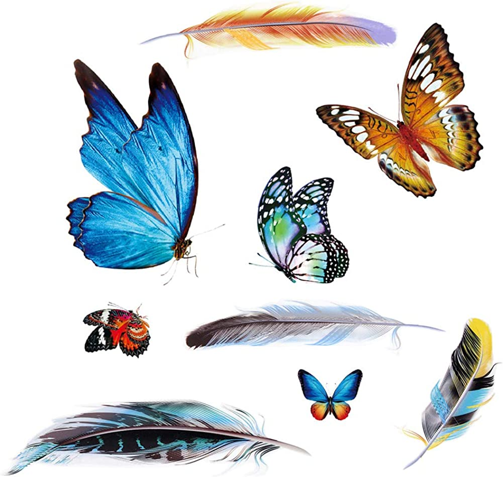 Bumper Window Stickers Butterfly Decals Colorful Feather Appliques for Car, Auto, Truck, Vehicle, Window, Bumper, Laptop Decorations Personality Car Body Blocking Scratch Patches DIY Art Decor 9pcs