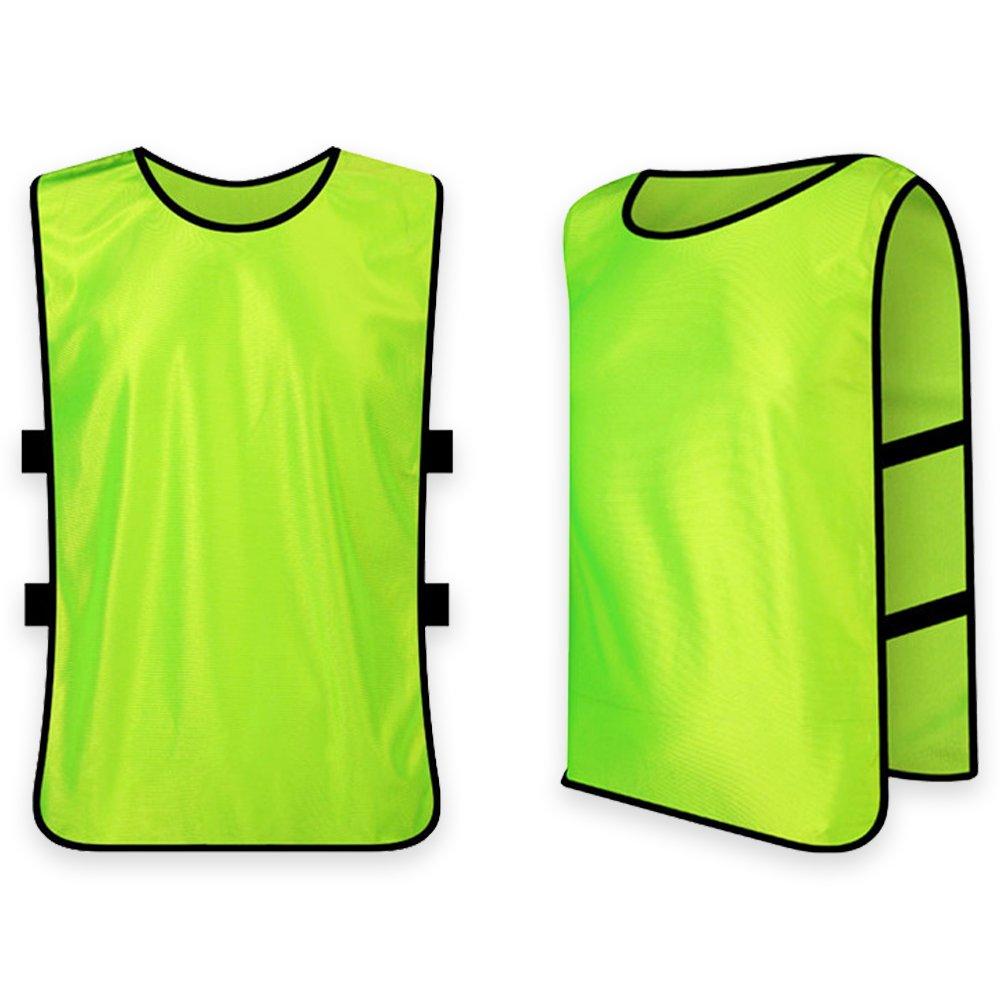 RRunzfon Gilet per Allenamento Casacche Sport per Bambini L Basket Pallavolo e Altri Giocchi e Sport-Verde Fluorescente Formazione Gilet per Squadra di Calcio