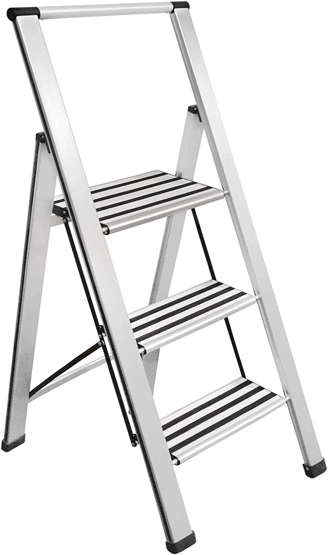 Sorfey Premium 3 Step Modern Aluminum Ladder. Lightweight,-Ultra Slim Profile, Anti Slip Steps, Sturdy-Portable for Home, Office, Kitchen, Photography Use, Aluminum Finish: Home & Kitchen