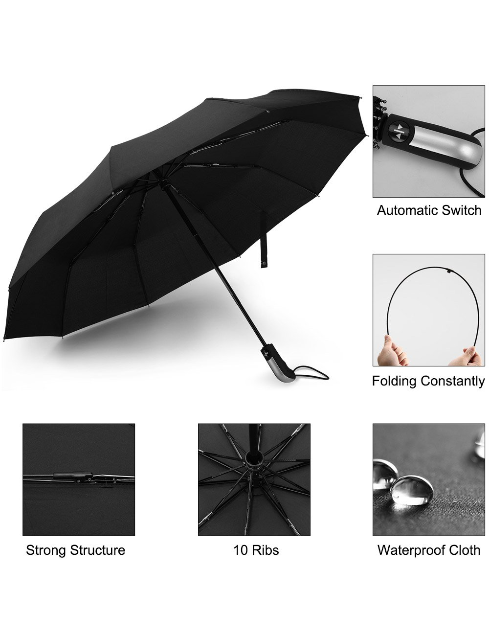Beownwear Travel Umbrella Windproof Folding Automatic Umbrellas 10 Ribs(Black) by Beownwear (Image #4)