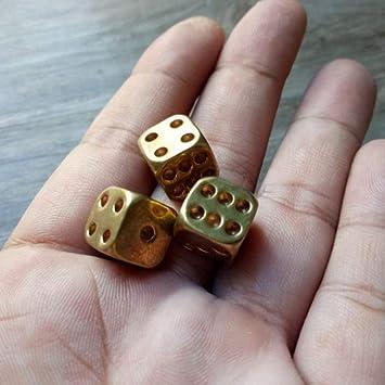 Oro XINFULUK Dados de Metal de Bronce Cobre Puro Metal Dados s/ólidos Barras pulidas a Mano Suministros para Juegos de Mesa D/&D Juguetes creativos