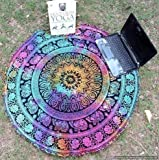BhagyodayFashions Mandala Roundie Round Beach Throw Tapestry, Hippy Boho Gypsy Cotton Table Cloth Beach Towel, Round Yoga Mat, 70 Inch. Approx by Traditional India
