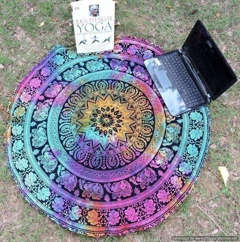 mandala roundie round beach throw tapestry hippy boho gypsy cotton table cloth beach towel round y