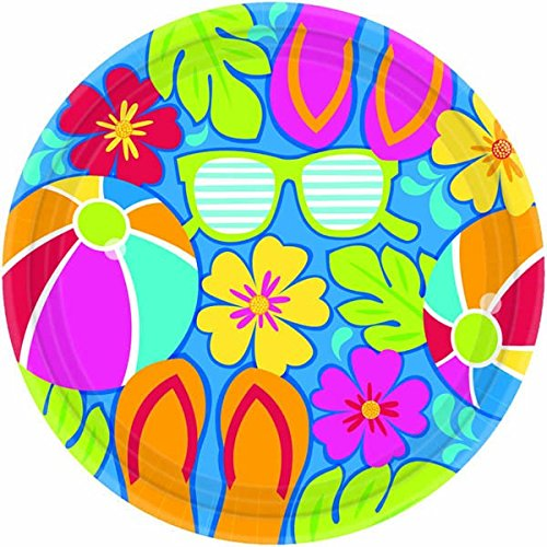 Amscan Hawaiian Luau Beach Summer Splash Paper Dessert Plates (18 Piece), Multi Color, 7 x (Hawaiian Theme Party Food)