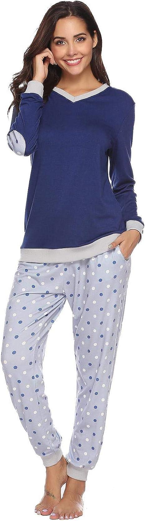 Abollria Pijama Mujer Algodón 2 Piezas Set V-Cuello Conjunto de ...