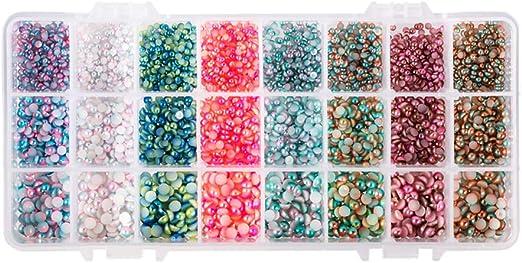 5mm x 100pcs Half Pink Half Blue Flatback Pearl