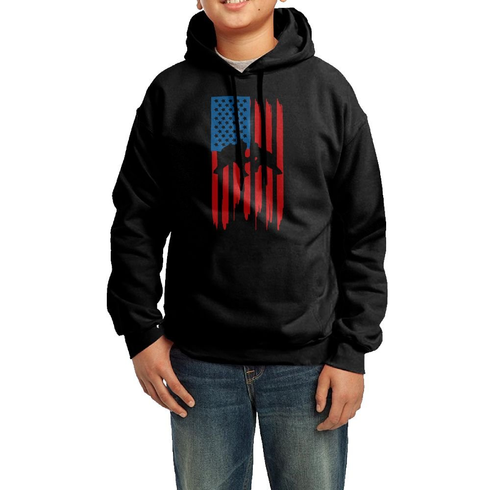 Keasure Wrestling American Flag Youth Pullover Hoodie Sweatshirt M by Keasure
