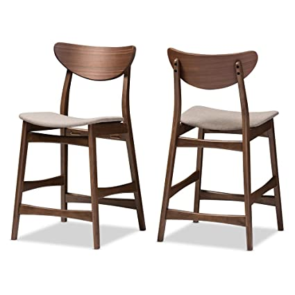5a7a2f23567 Image Unavailable. Image not available for. Color  Baxton Studio 2 Piece  Latina Scandinavian Style Light Grey Fabric Upholstered Walnut Counter  Stool Set