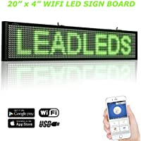 Leadleds 20 x 4 Inches Green Scrolling Message Display Board, WIFI and USB Programmable by Smartphone and Tablet PC for Office Notice, Car Windows, Business Store Advertising