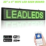 Leadleds 20 x 4 Inches Wifi Led Scrolling Message Sign Display Board Optional by USB Cable Sending Your Own Messages Apply to Business Coffee Shop - Green
