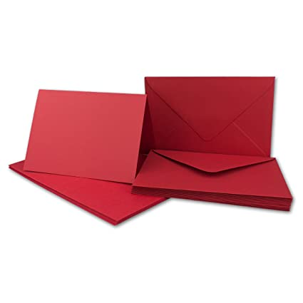 20x Faltkarten Set mit Brief-Umschlägen Rosenrot - DIN A6 / C6-14,8 x 10,5 cm | Premium Qualität | FarbenFroh® von Gustav NEU