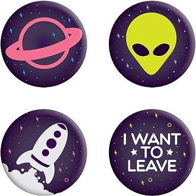 Grindstore - Pack de chapas modelo I Want to Leave (Tamaño Único) (Púrpura): Amazon.es: Ropa y accesorios