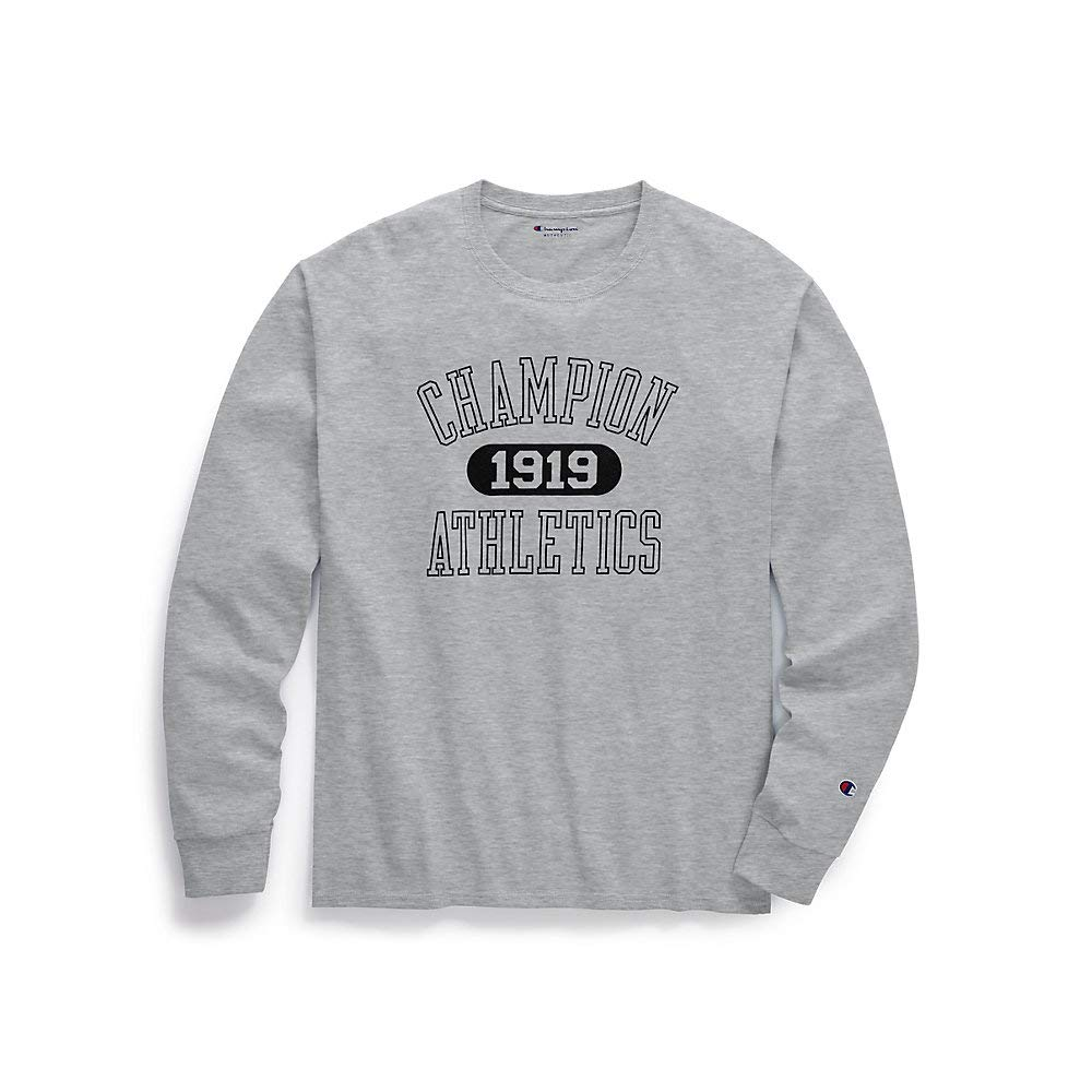 cc3bf565 Champion Mens Classic Jersey Long-Sleeve Tee, Athletics 1919 (GT78H Y07423)  at Amazon Men's Clothing store: