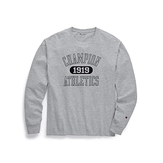 eb697db1 Champion Men's Classic Jersey Long-Sleeve Tee, Athletics 1919, Oxford Grey,  Size