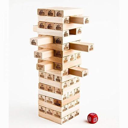 Jsgjzy Juego 54 Pcs Set Mora Jenga Puzzle Juego De Mesa Familia