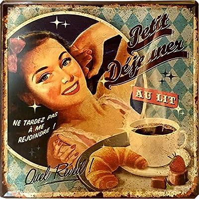 Petit Déjeuner Thé retro metal sign vintage//MAN CAVE//cafe