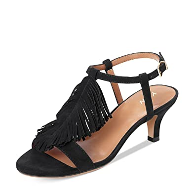 ba8346a91c5a YDN Women Kitten Heel Fringes Slingback Sandals Open Toe Ankle Strap Dress  Shoes with Buckle Black