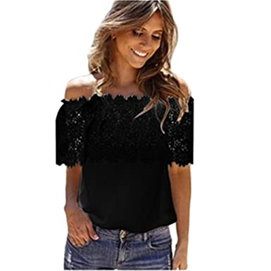 23f814a123b Howstar Women s Casual Sleeveless Tops Lace Shirt Backless Bandage Knot Blouse  Summer Vest Tank Top (