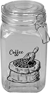 Home Basics Ludlow 43 oz. Glass Canister with Flip Top Lid and Clamp Lock, Airtight Seal for Kitchen Cabinet Pantry Storage Organizer for Tea, Coffee, Clear