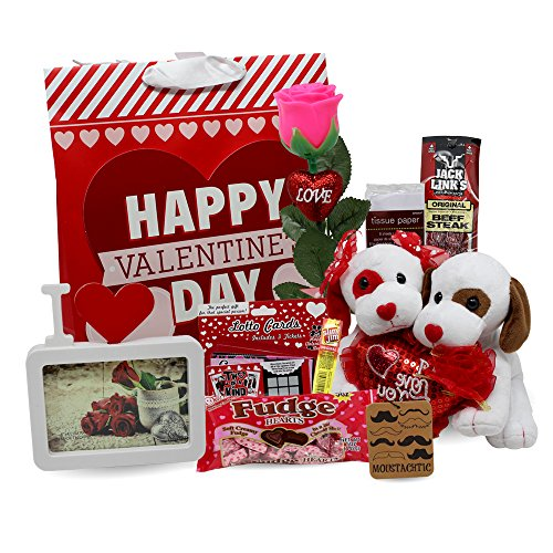 Valentine's Day Gifts for Him | Complete Men's Set with Plush Stuffed Dogs, Rose, Ch ...